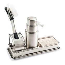 Frontgate - Best of Basics Soap Pump and Sponge Tray - Includes a 20 oz. soap dispenser and removable drip tray. Also has storage space for both a scrub brush and sponge (not included). Brushed stainless steel construction. Sponge and brush not included. Generously proportioned and beautifully crafted from brushed stainless steel, we designed our premium Soap Pump and Sponge Tray to echo the look of your upscale kitchen decor. . . . .