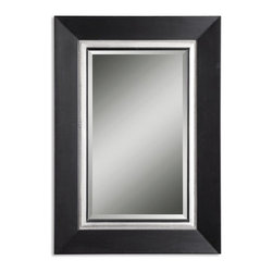 Uttermost - Uttermost Warhol Vanity Transitional Rectangular Mirror X-B 35141 - This wood frame has a matte black finish with a silver leaf inner liner and a gray glaze. Mirror is beveled.
