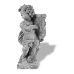 Amedeo Design, LLC - USA - Cherub Harpist Statue - Our Harp Cherub is an innocent piece. Depicting a child playing a harp, its a precious statue that would do well in any indoor or outdoor display. With its weathered finish our cherub becomes undistinguishable from ancient carved stone. Made in USA.