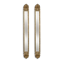 Uttermost - Juniper Antique Gold Mirrors, Set of 2 - These two beautifully detailed mirrors are tailor made for your style-savvy home. Antique gold leaf give the pair a hint of glamour, while their slender shape will effortlessly brighten up that one drab wall that's been left undone. Hang them for their artful reflection and decorative detailing.