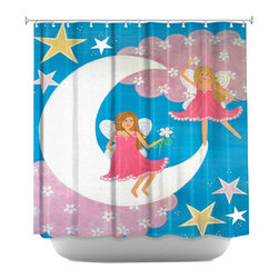 DiaNoche Designs - Shower Curtain Artistic - Au Claire De La Lune - DiaNoche Designs works with artists from around the world to bring unique, artistic products to decorate all aspects of your home.  Our designer Shower Curtains will be the talk of every guest to visit your bathroom!  Our Shower Curtains have Sewn reinforced holes for curtain rings, Shower Curtain Rings Not Included.  Dye Sublimation printing adheres the ink to the material for long life and durability. Machine Wash upon arrival for maximum softness on cold and dry low.  Printed in USA.