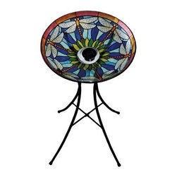 Evergreen - Dragonfly Tiffany Solar Birdbath - Glass Solar Dragonfly Birdbath