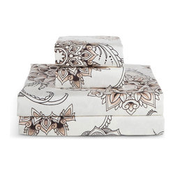 Sin in Linen - Henna Tattoo Sheet Set, King - Bring the spice of the middle east into your home with this henna tattoo print. Includes 1 fitted sheet, 1 flat sheet and 2 king pillowcases.