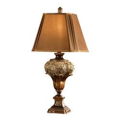 "Crestview - Crestview CVARP509 Wingate Table Lamp - Wingate Table Lamp Brushed Umber Finish Table Lamp (9/9 x 1515 x 12"" Square Pleated Cut-Corner Dark Gold Fabric Shade) 3-Way 150w max wattage bulb 32"" Ht."