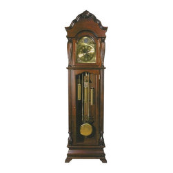 "Acme - Cherry Finish Wood Grandfather Clock - Cherry finish wood grandfather clock , some assembly required, does require you to wind the clock each month, pendulum does swing with the seconds. Doors open up to the pendulum and the face of the clock, measures 23"" x 10"" x 77"" H"