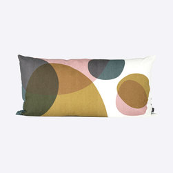 Come Full Circle Cushion - This beautiful cushion would look fantastic on stark white bedding. Add touches of wood furniture throughout the bedroom and bursts of color for a truly mid-century modern aesthetic.