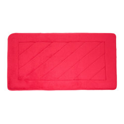 """Living Healthy Products - Microfiber Absorbing Bathroom Mat 20x30 Horizontal Line Pattern, Red - Step out of the Shower and into Plush Luxury with this quilted memory foam bathroom mat. This mat has a stable non slip latex backing and is covered with a silky soft microfiber. The mat absorbs moisture as you stand in comfort and protects you feet from the cold tile floors. Available in 2 Sizes : 17"""" x 24"""" or 20"""" x 30"""""""