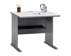 Bush Business - 36 in. Pewter Desk - Series A - A desk small enough to fit with ease in any corner you have in mind but stable and strong to handle heavy traffic and all the work you have in mind.  This pewter finish desk has neutral colors that inspire elegance and sophistication while blending with any decor and furniture.  This desk is great to use by itself or as an addition to an already existing desk.  Our customer favorite student computer desk is now available in this compact model to maximize the available space in whatever room it is used.  This Pewter Computer Desk with Diamond Coat� Scratch Resistant Surface provides top and leg wire access/concealment, PVC edge banding and more legroom owing to its C-leg design. * Diamond Coat� top surface is scratch and stain resistant. Steel insert in molded feet w levelers. Top and leg wire access/concealment. More leg room with C-leg design. PVC edge banding. Pewter finish. 35.625 in. W x 26.875 in. D x 29.875 in. H