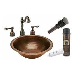 Premier Copper Productsu - Undermount Round Copper Sink w/ORB Faucet - BSP2_LR17FDB Premier Copper Products Round Under Counter Hammered Copper Sink with ORB Widespread Faucet, Matching Drain and Accessories