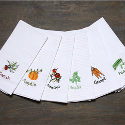 None - LUCIA MINELLI 6 piece Vegetable Embroidered Turkish Kitchen Towel Set - With these adorable kitchen towel sets, you can enjoy a homey feel and a stylish country-themed kitchen. Keep your hands soft when you use these towels made of pure Turkish cotton. Because of the quick-dry material, you will never run out of them.