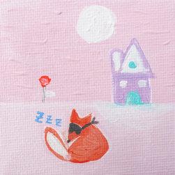 Keira Lagunas - A Quiet Fox. Original Painting On Canvas By Keira Lagunas - A quiet fox.