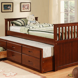 Williams Import Co. - Twin Captain Bed in Cherry - Get your Kids ready for a great night's sleep. This Twin Captain Bed with a side panel trundle will give your children a beautiful sleeper in a lush Cherry Finish. The Twin Captain bed offers you the versatility to transform juniors bedroom into a place he or she can be proud of. Features: -Cherry finish. -Twin size. -Assembly required.