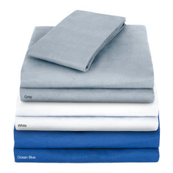 English Laundry - Oxford King-size Sheet Set - The same lavish luxury feel of your favorite Oxford shirt goes into making these king-size sateen sheet sets. These comfortable,cool-to-the-touch sheets only get more comfortable with wear and feature a 300-thread-count weave in your choice of colors.