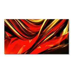 "Fabuart - Fire Lines - Gallery Wrapped Canvas - 32 x 16 - 1 Panel - This ""Fire Lines"" warm color  artwork design is printed in high quality fade resistant ink on premium quality cotton canvas. This abstract design is sure to be the center piece of any room it is placed in. All of our graphic canvas prints are gallery wrapped around solid wood subframes, carefully packaged and arrive to you, ready to hang on the wall. Our printing technology allows for a crisp, deep canvas print which is  never pixelated."
