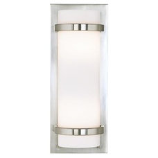 """Brushed Nickel And Etched Opal 17 1/4"""" High Wall Sconce 