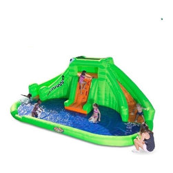 Inflatable Bounce House Bouncer Party Play Birthday Commercial Kids Backyard Toy - The Croc Isle Water Park brings a jungle theme to your backyard. Kids can go up the climbing wall to the lookout platform at the top. When they're done with the view, they can slide down the tail or the snout of the crocodile into the shallow pool below. Overhead sprayers rain down on each of these two curving slides.