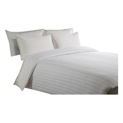 500 TC Duvet Cover with 1 Fitted Sheet Striped White, Full - You are buying 1 Duvet Cover (88 x 88 inches) and 1 Fitted Sheet (54 x 75 inches) only.