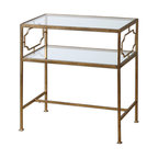 Uttermost - Genell Side Table - Add a lamp, a simple ceramic catchall and maybe a candle for an elegant vignette atop this classic side table. The gold leaf detailing and glass shelves are calling for your sophisticated design sensibilities. Stack a couple coffee table books on the bottom shelf to complete the look and you'll be all set.