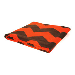 """Pur by Pur Cashmere - Signature Blend Throw Celosia Orange 50""""x65"""" - Jacquard chevron pattern throw. 100% cotton blend Dry clean only. Inner mongolia."""