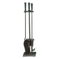 Uniflame - Uniflame T40140BK 4 Piece Black Fireset (F-1233) - 4 Piece Black Fireset (F-1233) belongs to Fireplace Accessories Collection by Uniflame