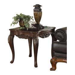 Homelegance - Homelegance Ella Martin End Table in Warm Brown Cherry - Homelegance - End Tables - 1288305 -When adding the personal touches to your living space that reflect the warmth and elegance of your home, the Ella Martin Collection is the perfect traditional table offering. Featuring a warm brown cherry finish, smoked glass and gold tipped acanthus leaf motif.