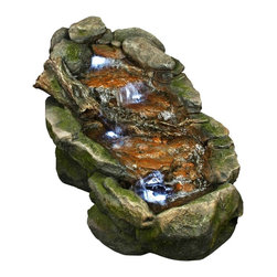 """Lamps Plus - Mossy Rocks LED Fountain - Water trickles softly down the moss covered rocks of this fountain. LED lights add a pretty glow to this soothing design. Perfect for indoors and outdoors. Fiberglass construction. Includes LED light. 21"""" high. 24"""" wide. 41"""" deep. Includes 6' cord.  Mossy Rocks fountain.  With 3 built-in LED lights.  Water gently cascades down three tiers.  Fiberglass construction.  Comes with pump.  6-foot cord.  21"""" high.  24"""" wide.  41"""" deep."""