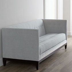 """Old Hickory Tannery - Old Hickory Tannery """"Tucker"""" Sofa - A simple yet striking silhouette with high arms, this button-tufted sofa is covered in durable, easy-to-clean fabric and is available in a choice of colors. Select color when ordering. Hardwood frame has coffee bean finish. Upholstery is polyester/ac..."""