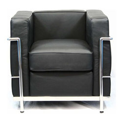 East End Imports - Arm Chair in Italian Black Leather w Stainless Steel Frame - Full Italian leather. Multi-density foam cushions for firm support and plush comfort. Ultra-premium stainless steel frame polished to a mirror finish. Sleek Black leather upholstery. 28 in. L x 30 in. W x 28 in. H (35 lbs.). High-quality replica of the famed Corbusier Club ChairWith cushions held in place without being tethered to the frame, the idea was to offer all the comfort of a padded surface while applying the elegant minimalism and industrial rationale of the International Style. This chair collection represents uncompromised quality with affordability you won't find anywhere else. Each piece is made to preserve the specifications of the original using modern day manufacturing techniques. Our commitment to quality control assures that our chairs mirror the original design from every angle. Extra care went into assuring all welds and joints are completely smooth for beautiful clean lines.