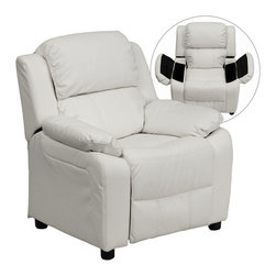 Flash Furniture - Flash Furniture Deluxe Heavily Padded Contemporary White Vinyl Kids Recliner - Kids will now be able to enjoy the comfort that adults experience with a comfortable recliner that was made just for them! This chair features a strong wood frame with soft foam and then enveloped in durable Vinyl upholstery for your active child. Choose from an array of colors that will best suit your child's personality or bedroom. This petite sized recliner features storage arms so kids can store items away and retrieve at their convenience.