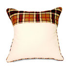 """Mystic Valley - Mystic Valley Traders Fulham Road - Euro Sham with Insert - The Fulham Road Euro sham is fashioned from the Cobblestone fabric with a Tartan panel, reversing to the Tartan fabric, with Tartan piping; sold with polyester microfiber insert; 26""""x26""""."""