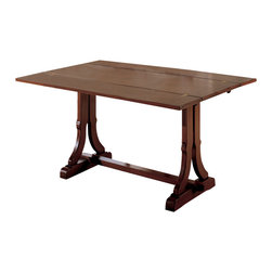 "Tuscan Hills - Folding Dining Table - Made in Italy near the town of Citta di Castello (Umbria), this walnut wood folding dining table is perfect for the intimate dining room. With its two leaves extended, the table measures 63"" Long x 44"" wide!  When not in use, it can be easily closed to become a console, side table or an accent piece in an entrance way, behind a sofa, or below a piece of wall art. The simple yet beautiful classic Tuscan design is accented with a wrought iron scroll and a slightly antiqued finish - further reminding us of the old world workmanship that goes into every piece."
