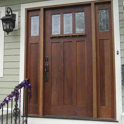 Wooden Mission Style Front Door - A solid wood mission style front door Installed by Opal Enterprises in Naperville, IL