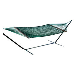 Classic Caribbean Style Green Rope Hammock w/ Wood Spreaders - Caribbean Rope Hammocks are the classic hammock style. This beautiful green Caribbean rope hammock is hand woven from soft spun polyester. Unlike similar cotton rope hammocks, it will not rot, mold or mildew. 8mm triple ply rope is used for extra durability. The hardwood spreader bars have multiple coats of marine varnish to protect them from the elements and is a full 55 inches wide giving plenty of room for 2 adults. This hammock is easy to hang from any 2 points 12ft or more apart. NOTE: It does not come with stand or mounting hardware.