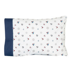 Sweet Jojo Designs - Nautical Nights Children's Sheet Set - The Nautical Nights Children's sheet set will help complete the look of your Sweet Jojo Designs room. This mini nautical print with navy blue trim and chambray blue piping sheet set is available in a Twin and Queen Size and is machine washable for easy care.