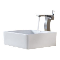 Kraus - Kraus White Square Ceramic Sink and Sonus Faucet Chrome - *Add a touch of elegance to your bathroom with a ceramic sink combo from Kraus