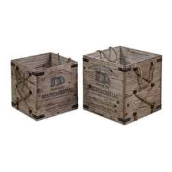 Uttermost - Wood Bouchard Decorative Boxes - Wood Bouchard Decorative Boxes
