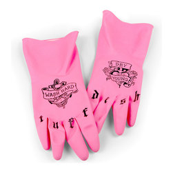 Fred and Friends - Tough Dish Tattoo Washgloves - Go ahead- gang up on those grimy glasses.  These 100% latex gloves are up to the toughest jobs