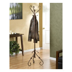 Southern Enterprises - Holly & Martin Blythe Hall Tree - Exquisite antique styling wrapped in a burnished bronze finish creates this three sided hall tree. Perfect anywhere from entryway to bedroom, the function of such a wonderful piece is a welcome addition to any room.