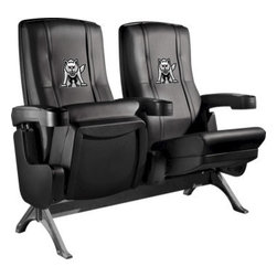 Dreamseat Inc. - University of South Dakota NCAA Row One VIP Theater Seat - Single - Please note: This item is the single chair, not multiple as shown in the photo. We do not have photos of an individual chair by itself. Check out this fantastic home theater chair. This is the same seat that is in the owner's VIP luxury boxes at the big stadiums. It has a rocker back and padded seat, so it's unbelievably comfortable - once you're in it, you won't want to get up. Features a zip-in-zip-out logo panel embroidered with 70,000 stitches. Converts from a solid color to custom-logo furniture in seconds - perfect for a shared or multi-purpose room. Root for several teams? Simply swap the panels out when the seasons change. This is a true statement piece that is perfect for your Man Cave, Game Room, basement or garage.