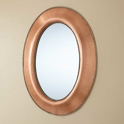 Medium Oval Lightly Hammered Copper Mirror with Brass Accents - Antique Copper - This Antique Copper mirror features a rustic, lightly hammered frame with braided trim. Adding both style and sophistication to your home, this mirror can be mounted vertically or horizontally.