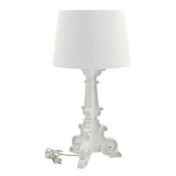 """LexMod - French Grand Table Lamp in White - French Grand Table Lamp in White - Establish a firm foundation and develop leadership potentials with this breathtaking centerpiece. The French's beautifully flocked iridescent light pattern illuminates the value of many-faceted interactions with friends and family. Enjoy splendid abundance as this modern table lamp assumes a position of prominence among your circle of influence. Set Includes: One - French Grand Table Lamp Glamorous baroque period styling, For relaxing or festive occasions, Three-legged interconnected base, Shimmering acrylic construction, Pleated shaded Overall Product Dimensions: 14.5""""L x 14.5""""W x 28""""H Lamp Shade Dimensions: 10""""L x 10""""W Cord Length: 39""""L - Mid Century Modern Furniture."""