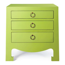Bungalow 5 Jacqui 3 Drawer Side, Green - I can't resist the bright, cheerful, spring green or the clean yet fun lines. This would be an awesome standout in a predominantly white room.