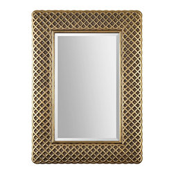 """Uttermost - Transitional Uttermost Carressa 30 1/2"""" x 42"""" Gold Leaf Wall Mirror - Bring a lively focal point to a room with this vibrant rectangular wall mirror. The frame has a raised cross-hatch pattern in lightly antiqued gold leaf finish enhanced by a dark gray glaze accent finish. A generous 1 1/4"""" bevel adds a wonderful finishing touch to the piece. This transitional style Uttermost mirror will make a beautiful addition to your home. Decorative wall mirror. Raised crosshatch pattern frame. Lightly antiqued gold leaf finish with dark gray accents. Dark gray glaze accent finish. Glass has a 1 1/4"""" bevel. Hang weight is 28 lbs. 31"""" wide. 42"""" high. 1"""" deep.  Decorative wall mirror.  Raised crosshatch pattern frame.  Lightly antiqued gold leaf finish with dark gray accents.  Dark gray glaze accent finish.  Glass has a 1 1/4"""" bevel.  Hang weight is 28 lbs.  31"""" wide.  42"""" high.  1"""" deep.  Mirror glass only is 230"""" high 18 1/2"""" wide."""