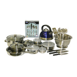 PRIME PACIFIC - Starter Kitchen Collection 65 Piece Set Blue - This kitchen set includes 65 total pieces and is everything you need to start your own kitchen. It includes a 3qt stainless steel whistling kettle, a 7 piece stainless steel cookware set, Bellamo 45 piece flatware set, 5 stainless steel bowls with lids, a Masterchef Santoku knife set, a 5qt stainless steel colander and a 3 piece stainless steel tool set. This set features blue accents.