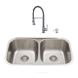 """VIGO Industries - VIGO All in One 32-inch Undermount Stainless Steel Kitchen Sink & Chrome Faucet - Breathe new life into your kitchen with a VIGO All in One Kitchen Set featuring a 32"""" Undermount kitchen sink, faucet, soap dispenser, matching bottom grids, and strainers."""