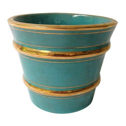 """Pre-owned Italian Turquoise And Gilt Pot - The color combination of turquoise and gold is made of dreams. Doesn't it remind you of a Mediterranean vacation? We'll gladly let this vintage pot with a turquoise glaze and gilt stripes stand in for that dream vacation for now.     Marked """"Mica, Made in Italy."""""""