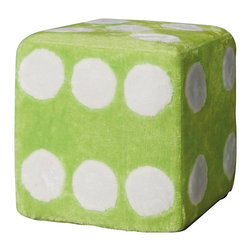 Monarch Specialties - Monarch Specialties 8997 Ottoman in Green Fuzzy Dice - Liven up your living area or bedroom with this cool contemporary dice ottoman that will be a stylish and fun addition to your home. Covered in a green fuzzy material, this piece is a comfortable spot to sit or rest your feet. Perfect for your child's bedroom, this piece is a must-have.