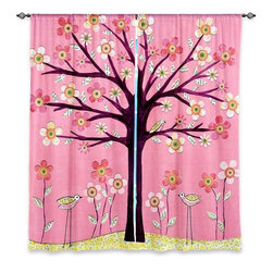 "DiaNoche Designs - Window Curtains Unlined - Sascalia Pink Bird Tree - Purchasing window curtains just got easier and better! Create a designer look to any of your living spaces with our decorative and unique ""Unlined Window Curtains."" Perfect for the living room, dining room or bedroom, these artistic curtains are an easy and inexpensive way to add color and style when decorating your home.  This is a woven poly material that filters outside light and creates a privacy barrier.  Each package includes two easy-to-hang, 3 inch diameter pole-pocket curtain panels.  The width listed is the total measurement of the two panels.  Curtain rod sold separately. Easy care, machine wash cold, tumbles dry low, iron low if needed.  Made in USA and Imported."