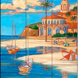 The Tile Mural Store (USA) - Tile Mural - Mediterranean Beach Club 2 - Kitchen Backsplash Ideas - This beautiful artwork by Paul Brent has been digitally reproduced for tiles and depicts a nice beachfront scene.  Beach scene tile murals are great as part of your kitchen backsplash tile project or your tub and shower surround bathroom tile project. Waterview images on tiles such as tiles with beach scenes and sunset scenes on tiles.  Tropical tile scenes add a unique element to your tiling project and are a great kitchen backsplash  or bathroom idea. Use one or two of our beach scene tile murals for a wall tile project in any room in your home for your wall tile project.