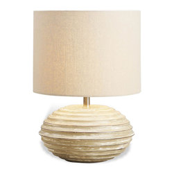 Kathy Kuo Home - Trevett White Wash Wood Coastal Beach Style Lamp - Bearing a quintessentially modern combination of texture and light, this modern beauty delivers a golden glow to contemporary environments from a finely crafted wood base.